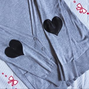 🦋Love Heart patch button grey cardigan 🖤